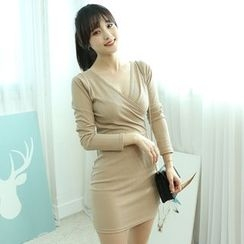 Dodostyle - Wrap-Front Ribbed Mini Dress