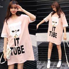 Au Naturel - Cat Print Short Sleeve T-Shirt Dress