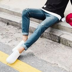 MEOSIDDA - Distressed Tapered Jeans
