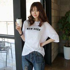 Envy Look - Elbow-Sleeve Print T-Shirt