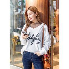 J-ANN - V-Neck Lettering Sweatshirt