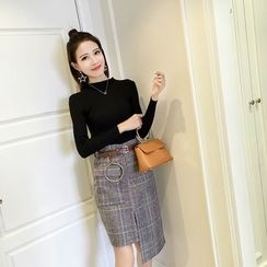 Bloombloom - Set : Ribbed Knit Top + Asymmetric Plaid Skirt