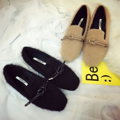 Zandy Shoes - Knot-Accent Furry Loafers