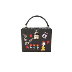 DABAGIRL - Padlock Embroidered Rectangle Satchel