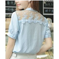 Dowisi - Lace Panel Short-Sleeve Blouse