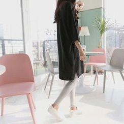 Hello sweety - 3/4-Sleeve Slit-Hem T-Shirt Dress