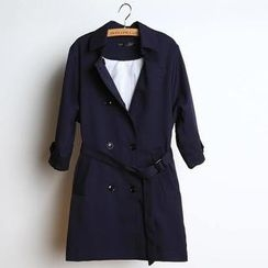 JVL - Flap-Accent Double-Breasted Trench Coat