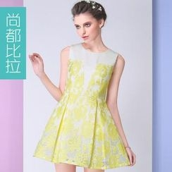 Sentubila - Sleeveless Floral A-Line Dress