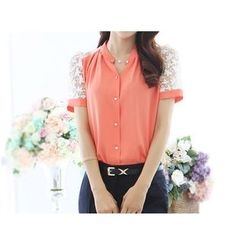 Zyote - Lace Panel Chiffon Blouse