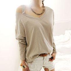 NANING9 - Cutaway-Neckline T-Shirt