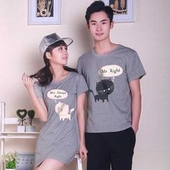 Sunny Station - Couple Matching Print Short-Sleeve T-Shirt / T-Shirt Dress