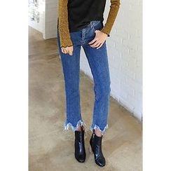 migunstyle - Frey-Hem Straight-Cut Jeans