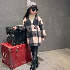 Lemony dudu - Kids Plaid Double-Breasted Coat