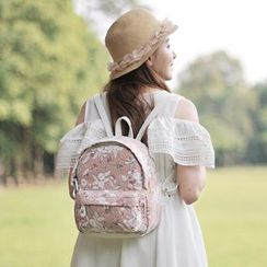SUPER LOVER - Printed Lace-Panel Cotton Backpack