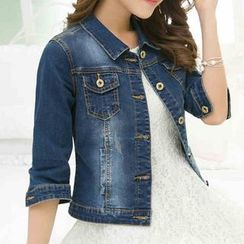 Lanka - 3/4 Sleeve Cropped Denim Jacket