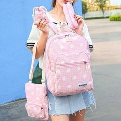 Sweet City - Set: Flower Print Backpack + Cross Bag + Pouch + Drawstring Pouch