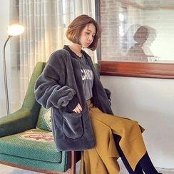 Seoul Fashion - Belted Patch-Pocket Faux-Fur Jacket
