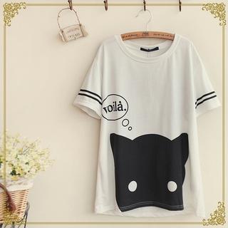 Fairyland - Short-Sleeved Cat Print T-Shirt