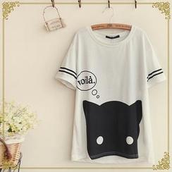 布衣天使 - 短袖條紋貓印花T恤