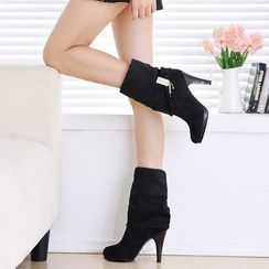 Shoes Galore - Faux Suede Heel Tall Boots