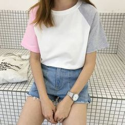 Moon City - 撞色短袖T恤