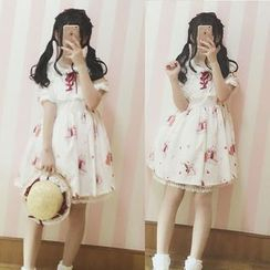 GOGO Girl - Rabbit Print Lace-Up Short-Sleeve Dress
