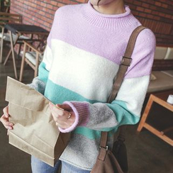 mimi&didi - Mock-Neck Color-Block Knit Top