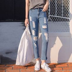 Sienne - Cropped Ripped Jeans