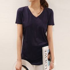 Zyote - Plain V-neck Short-Sleeve T-shirt