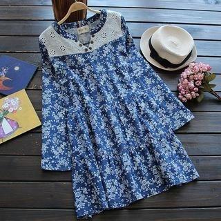 TBR - Eyelet-Lace-Panel Floral Dress