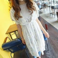 REDOPIN - Inset V-Neck Lace Dress Round-Neck T-Shirt Dress