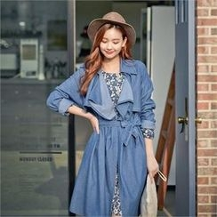 Styleberry - Frap-Front Denim Trench Coat with Sash