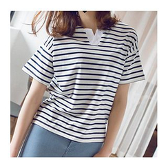 Wimi girls - Striped Short Sleeve Split Neck T-Shirt