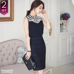 Romantic Factory - Set: Sleeveless Beaded-Front Top + Laced Pencil Skirt