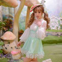 Candy Rain - Lace Trim Chiffon Jumper Skirt