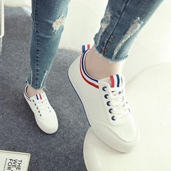 Solejoy - Striped-Trim Canvas Sneakers