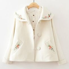 ninna nanna - Embroidered A-line Knit Coat