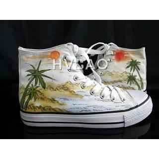 HVBAO - 'Tropical Scene' High-Top Canvas Sneakers