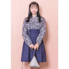 Dalkong - Set: Floral Print Hanbok Top + Skirt