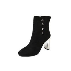 DABAGIRL - Láme Chunky-Heel Buttoned Ankle Boots