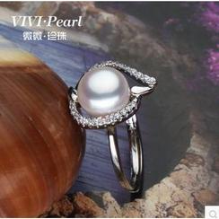 微微珍珠 - 淡水珍珠純銀可調節戒指