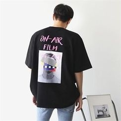 MITOSHOP - Elbow-Sleeve Printed-Back T-Shirt