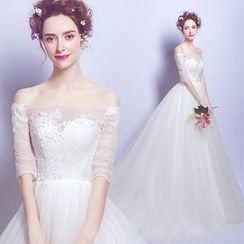 Angel Bridal - Off-Shoulder Lace Wedding Dress