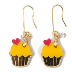 Sweet & Co. - Sweet&Co Mini Gold Yellow Cupcake Crystal Earrings