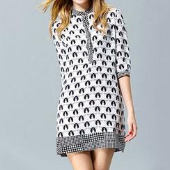 洛圖 - 七分袖圖案連衣裙