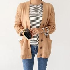Seoul Fashion - Dual-Pocket Buttoned Cardigan