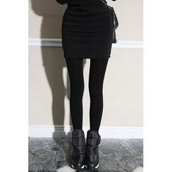 migunstyle - Brushed Fleece Lined Inset Skirt Leggings