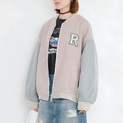 Heynew - Color Block Zip Baseball Jacket