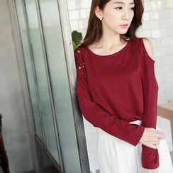 Tokyo Fashion - Long-Sleeve Shoulder Cut Out Studded T-Shirt
