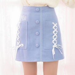 Moriville - Lace Up Detailed Buttoned A-Line Skirt